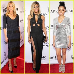 Heidi Klum & Laverne Cox Are Picture Perfect Ladies at NYC's amfAR Gala 2015!