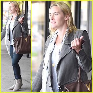 Kate Winslet Goes All Natural at JFK Airport