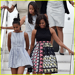 Michelle Obama Arrives in Milan With Daughters Sasha & Malia