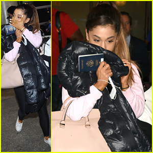 Ariana Grande Blows Kisses To Fans At Airport