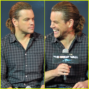 Matt Damon Debuts a Ponytail at a Press Conference in