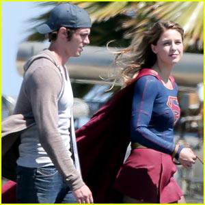 Melissa Benoist Gets 'Supergirl' Set Visit from Husband Blake Jenner!