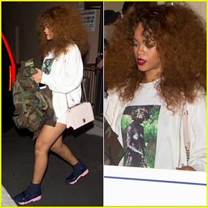 Rihanna Has Big & Curly Late Night Recording Session!