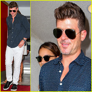 Robin Thicke Leaves Miami with Girlfriend April Love Geary