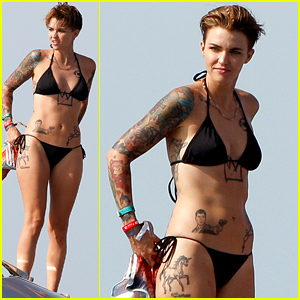 Ruby Rose Displays All of Her Tattoos in a Teeny Bikini!