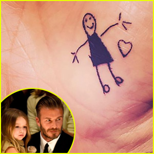 David Beckham's Daughter Harper Inked Her Dad with a Temporary Tattoo!
