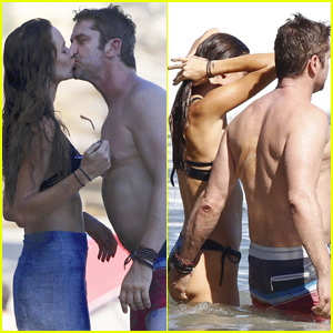 Gerard Butler Gives Morgan Brown Shirtless Smooches