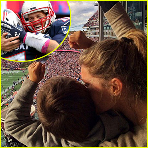 Gisele Bundchen & Son Benjamin Cheer on Tom Brady & the Patriots!