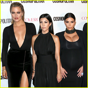 Kardashian Sisters Wear All Black to 'Cosmo' Birthday Party