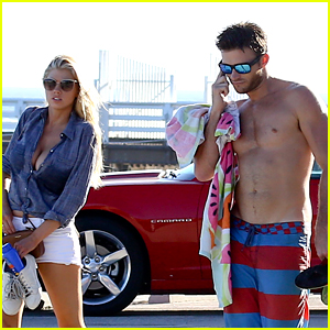 Scott Eastwood Goes Shirtless at the Beach with Charlotte McKinney!