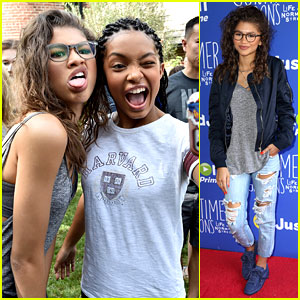 Zendaya Meets Inner City Kids at Just Jared Jr. Fall Fun Day Celebrating 'Gortimer Gibbon's Life on Normal Street'!