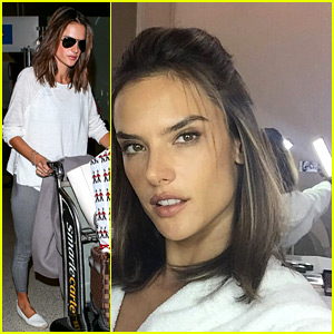 Alessandra Ambrosio Holds Handheld Light for Her Selfie