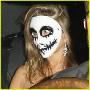 Jennifer Aniston Sports a Scary Mask for Halloween 2015