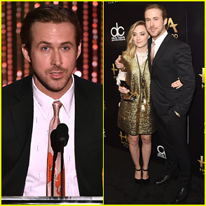 Ryan Gosling Presents to Saoirse Ronan at Hollywood Film Awards 2015