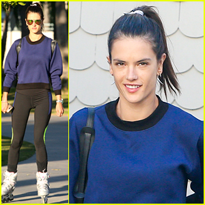 Alessandra Ambrosio Dons A Retro Look on Wheels