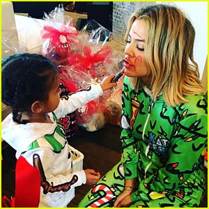 Khloe Kardashian Lets North West Do Her Makeup on Christmas