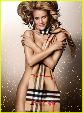 Rosie Huntington-Whiteley Bares It All in Only a 'Burberry' Scarf