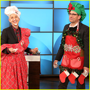 Steve Carell & Ellen DeGeneres Compete in a Gingerbread House Challenge (Video)