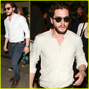 Kit Harington Lands at LAX Airport with 'GoT' Co-Star Rose Leslie