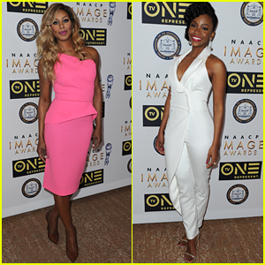 Laverne Cox Stuns In Bright Pink Dress at NAACP Awards Luncheon