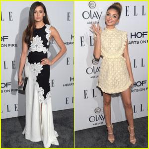 Nina Dobrev & Sarah Hyland Dress Up for Ellen's Women in Television Dinner