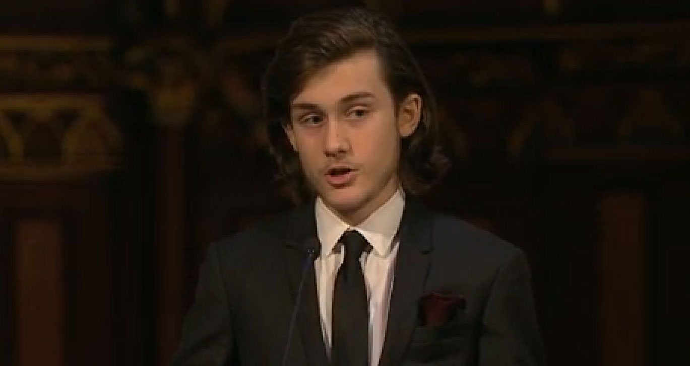 Celine Dion's Son Rene-Charles Angelil Gives Speech at His ...