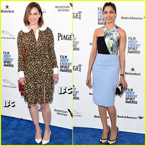 Emilia Clarke & Freida Pinto Look Chic at Spirit Awards 2016