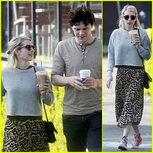 Emma Roberts & Evan Peters Share Smiles on Coffee Date