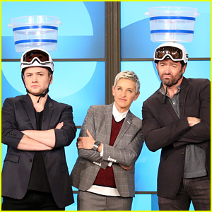 Hugh Jackman & Taron Egerton Get in a Snow Ball Fight on 'Ellen' - Watch Now!