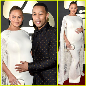 John Legend Holds Pregnant Chrissy Teigen's Baby Bump on Grammys 2016 Red Carpet