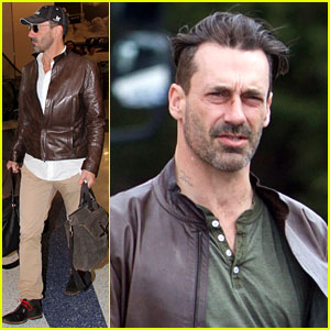 Jon Hamm Shows Off New Haircut While Filming a Movie