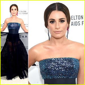 Lea Michele Twirls In Dress at EJAF AIDs Foundation Oscar Viewing Party