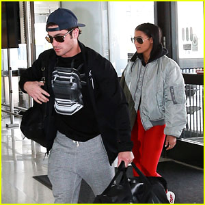 Zac Efron & Sami Miro Board Flight Together Ahead of Valentine's Day