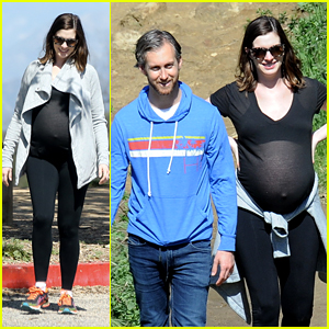 Anne Hathaway Hikes With Husband, Dogs & Growing Baby Bump