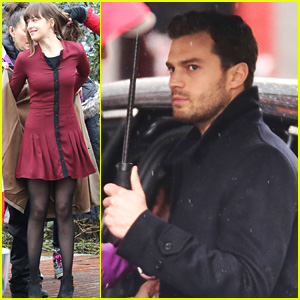 Jamie Dornan & Dakota Johnson Get Ready for Another Day of 'Fifty Shades Darker'!
