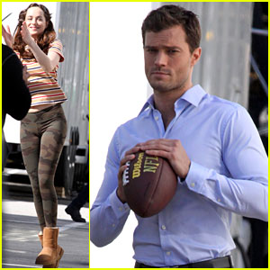 Dakota Johnson & Jamie Dornan Play Catch on 'Fifty Shades' Set