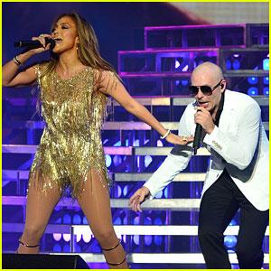 Jennifer Lopez Surprises Crowd at Pitbull's Vegas Show! (Video)