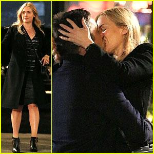 Kate Winslet Passionately Kisses Enrique Murciano On Set!