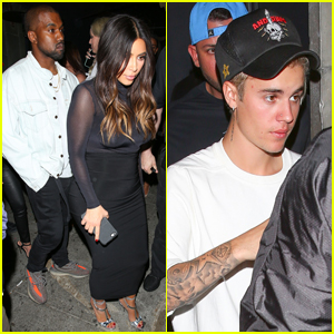 Kim Kardashian & Kanye West Party With Justin Bieber After His Staples Center Concert