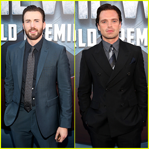Chris Evans & Sebastian Stan Rep Team Cap at 'Civil War' Premiere