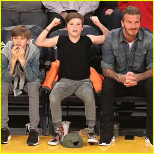 David Beckham Sits Courtside with Romeo & Cruz!
