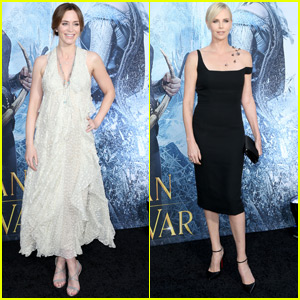 Emily Blunt Shows Off Her Baby Bump at 'Huntsman' Premiere with Charlize Theron