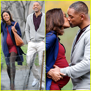 Will Smith Kisses Pregnant Naomie Harris for New Movie!