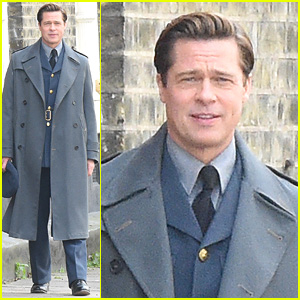 Brad Pitt Suits Up to Film 'Allied' in London