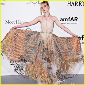 Elle Fanning Channels Her Inner Peacock at amfAR Cannes Gala 2016