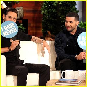 Jared Leto & Drake Play Never Have I Ever on 'Ellen' (Video)
