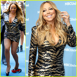 Mariah Carey Loses a Shoe on NBCU Upfront Carpet