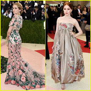 Zoey Deutch & Ellie Bamber Go Floral For Met Gala 2016