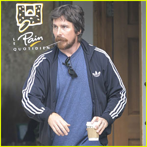 Christian Bale Chews on a Straw While Stopping for Coffee