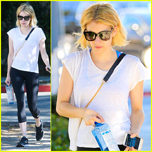 Emma Roberts Heads To Workout After John Stamos Joins 'Scream Queens'